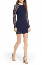 Love  Nickie Lew Lace Sleeve Body-Con Dress at Nordstrom