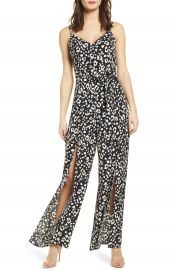 Love  Nickie Lew Split Leg Animal Print Jumpsuit   Nordstrom at Nordstrom