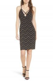 Love Nickie Lew Metallic Chevron Stripe Midi Dress at Nordstrom