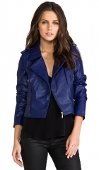 Lovers and Friends All Day Vegan Leather Moto Jacket w Removable Sleeves in Navy at Revolve