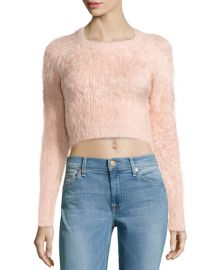 Lovers and Friends Fuzzy Cropped Sweater at Last Call