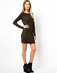 Low back metallic thread mini dress at Asos