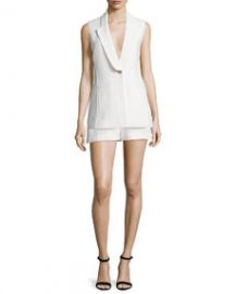 Lucia Long Lean Vest   Tropicana High-Waist Tailored Shorts  White at Neiman Marcus