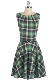 Luck Be a Lady Dress in Green Plaid at ModCloth