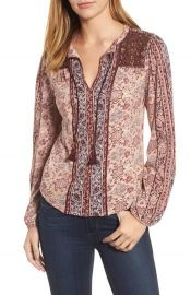 Lucky Brand Beaded Mixed Print Top Red at Nordstrom
