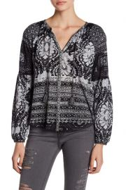 Lucky Brand Mixed Print Split Neck Top at Nordstrom Rack