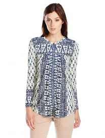 Lucky Brand Woodblock Printed Top in Natural at Amazon