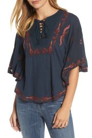 Lucky Brand   Embroidered Lace Up Peasant Top   Nordstrom Rack at Nordstrom Rack