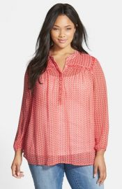 Lucky Brand Beaded Ditzy Print Top at Nordstrom
