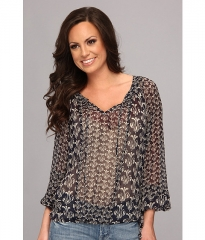 Lucky Brand Calimesa Printed Top Navy Multi at Zappos
