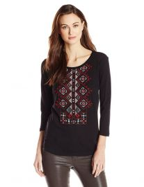 Lucky Brand Diamond Embroidered Top at Amazon