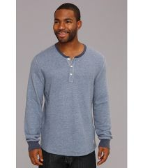 Lucky Brand Double Fabric Contrast Henley Blue HeatherNavy Heather at 6pm