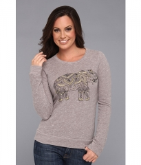 Lucky Brand Elephant Emb Pullover Heather Grey at 6pm