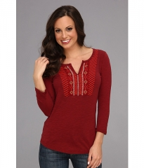 Lucky Brand Embroidered Bib Tee Biking Red at 6pm