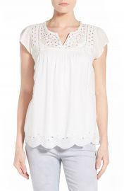 Lucky Brand Embroidered Eyelet Trim Top at Nordstrom