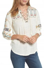 Lucky Brand Embroidered Lace-Up Top at Nordstrom