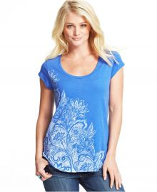 Lucky Brand Floral-Print Top in Blue at Macys