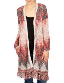 Lucky Brand Fringed Chevron Cardigan at Lord & Taylor
