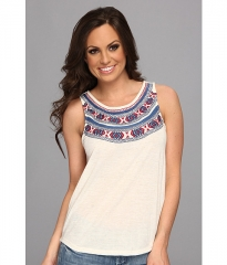 Lucky Brand Madera Embroidered Tank Oatmeal at 6pm