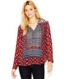 Lucky Brand Mixed-Print Peasant Blouse at Macys