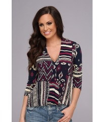 Lucky Brand Patchwork Print Top Multi at 6pm