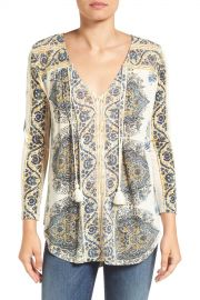 Lucky Brand Placed Print V-neck Blouse at Nordstrom Rack