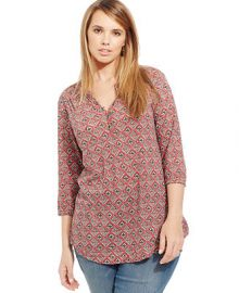 Lucky Brand Plus Size Printed Henley Blouse at Macys