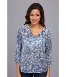 Lucky Brand Printed Top Blue Multi at 6pm
