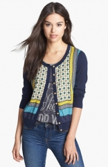 Lucky Brand Simoni Scarf Print Front Cardigan at Nordstrom