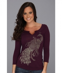 Lucky Brand Studded Peacock Tee Potent Purple at Zappos