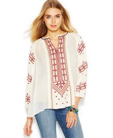 Lucky Brand Three-Quarter-Sleeve Embroidered Top - Tops - Women - Macys at Macys