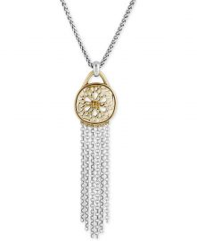 Lucky Brand Two Tone Pave Fringe Pendant Necklace at Macys