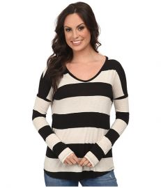 Lucky Brand Wide Stripe Top Black Stripe at Zappos