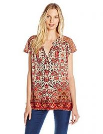 Lucky Brand Women s Border Print Top at Amazon