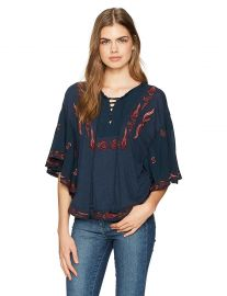 Lucky Brand Women s Lace up Embroidered Peasant at Amazon