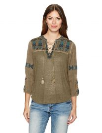 Lucky Brand Women s Lace up Embroidered Top at Amazon
