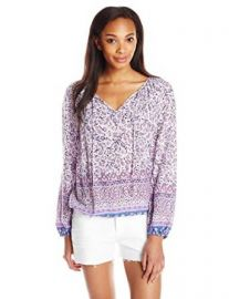 Lucky Brand Womenand39s Border Print Peasant Top at Amazon