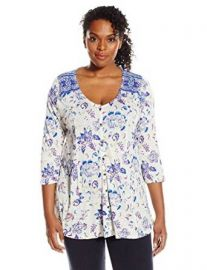 Lucky Brand Womenand39s Plus-Size Floral Border Top at Amazon