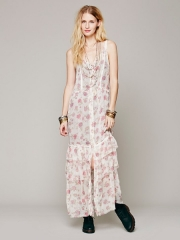Lucy Button Front Maxi Slip at Free People