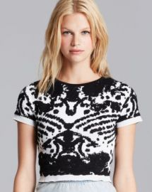Lucy Paris Crop Top - Short Sleeve Intarsia at Bloomingdales