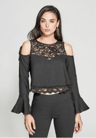 Luella Lace Cold Shoulder Top by Guess at Guess