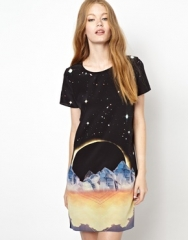 Lulu and Co  Lulu and Co Eclipse Tshirt Dress in Silk at Asos