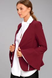 Lulus Night Visions Burgundy Cropped Blazer at Lulus