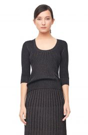 Lurex Rib Scoop Neck Pullover by Rebecca Taylor at Rebecca Taylor