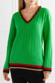 Lurex-trimmed cable-knit wool and cashmere-blend sweater at Net A Porter