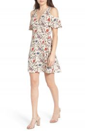 Lush Floral Print Cold Shoulder Wrap Dress at Nordstrom
