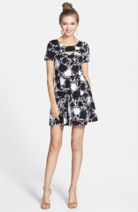 Lush Floral Print Cutout Skater Dress at Nordstrom