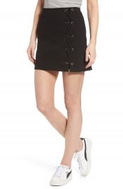 Lush Grommet Lace-Up Miniskirt at Nordstrom