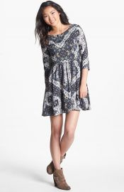 Lush Lace Up Skater Dress at Nordstrom