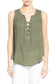 Lush Lace-Up Woven Tank in Dusty Olive at Nordstrom